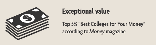 "value infographic - top 5 percent ""Best Colleges for Your Money"" according to Money magazine"