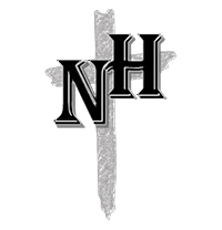 Newman Hall logo: NH superimposed over a hand-drawn cross.