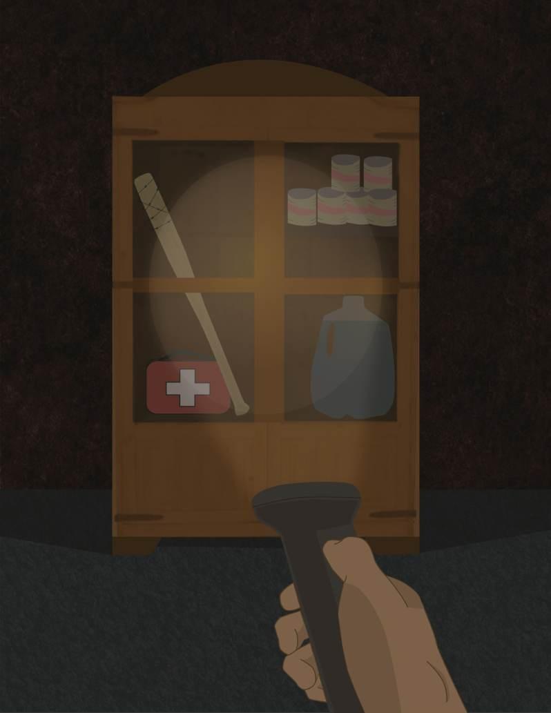 Artist depiction of flashlight shining on medical supplies.