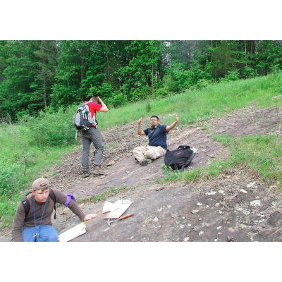 Students studying the bedrock