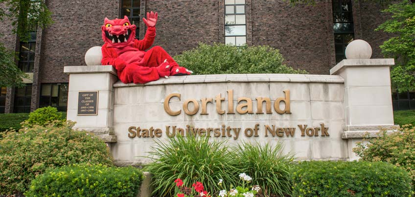 Blaze on the SUNY Cortland sign