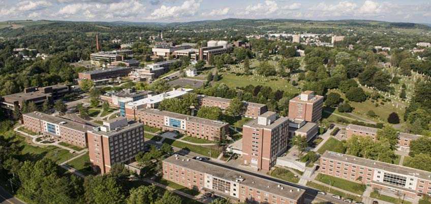 Aerial view of residence halls