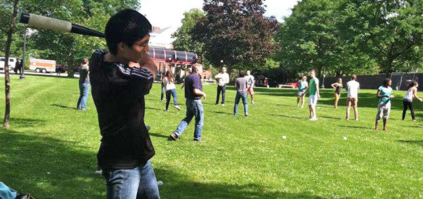 Playing Baseball in SUNY Cortland's Public Park