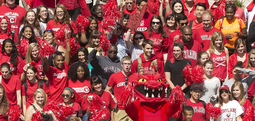 Students posing for the Red Dragon Pride photo