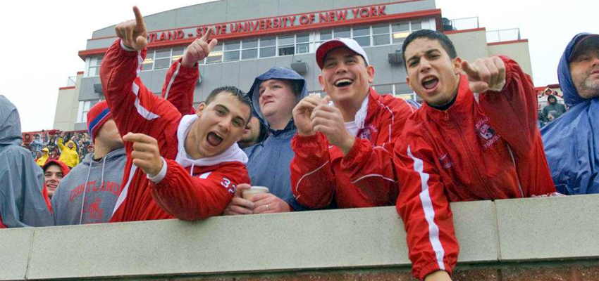 International Students Cheering at SUNY Cortland Game