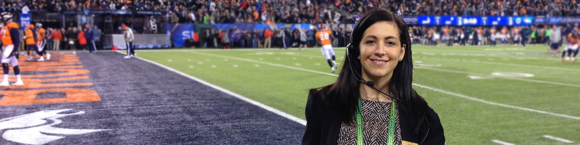 Katie Keenan '05, M '10 on the field at the Super Bowl