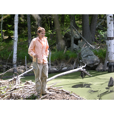 Maria negotiating a beaver dam.