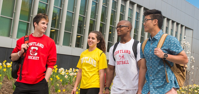 Students walk together outside of the Student Life Center