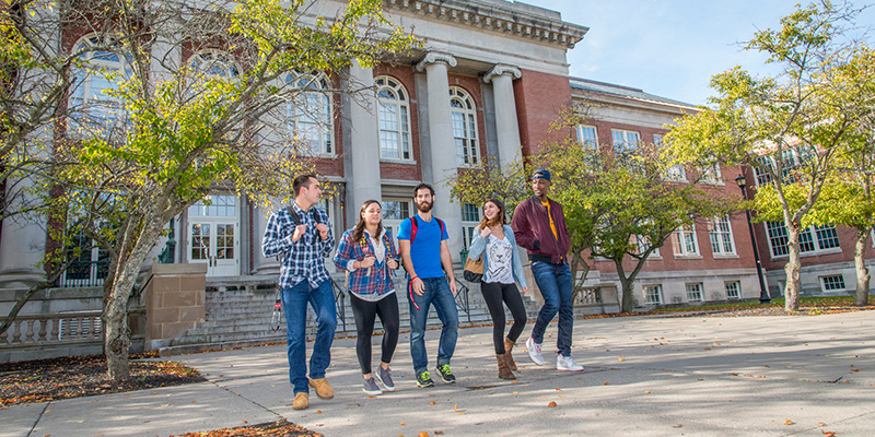 Students walking near Old Main