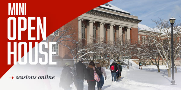 Old Main pictured in the snow for Mini Open House banner