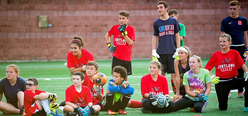 Community students attend the goal keeper summer sport campus at SUNY Cortland's athletic stadium