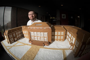 Caterer Crafts Old Main as Gingerbread House