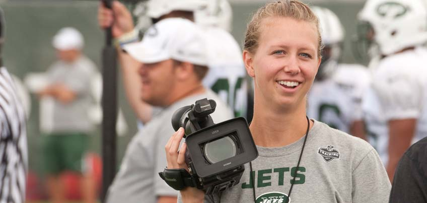 Student doing internship at New York Jets Summer Training Camp