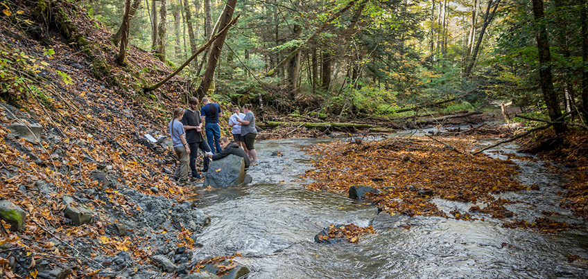 Students participating in fieldwork at Hoxie Gorge