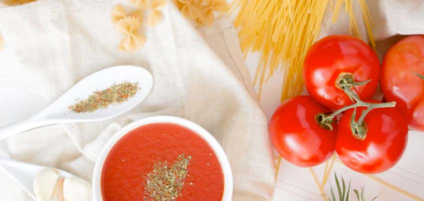 Photo of pasta and sauce ingredients