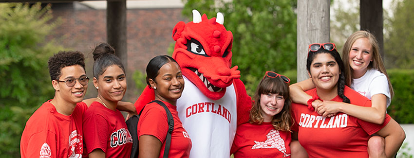 Blaze the Red Dragon with students