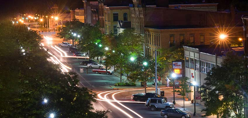 Downtown Cortland at night