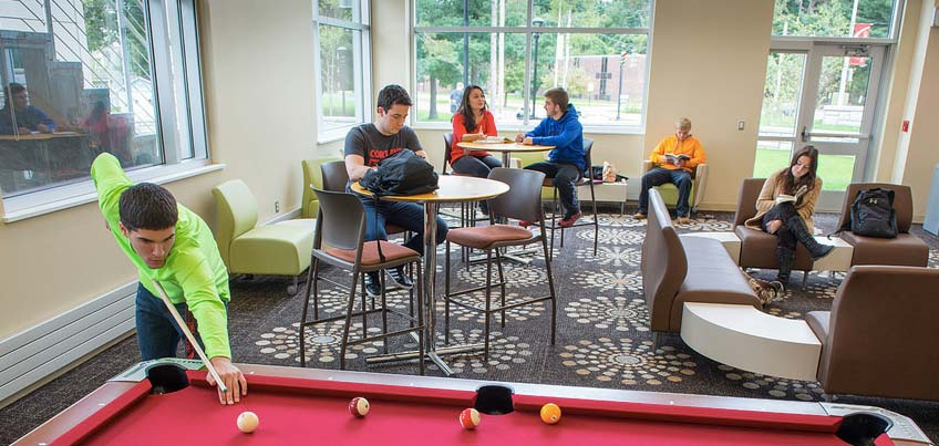 Students hanging in the common area of Dragon Hall