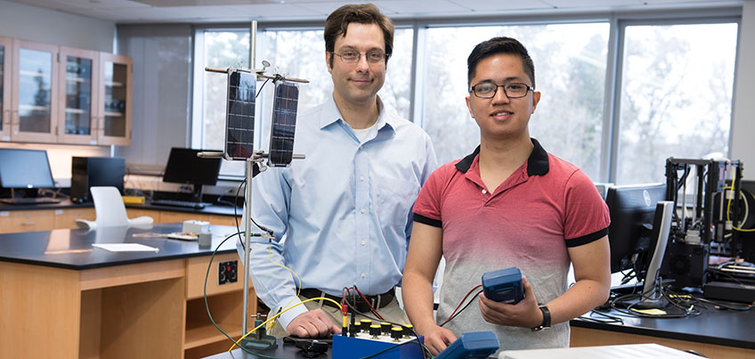 Assistant Professor Douglas Armstead and David Lloyd Henson, a graduate student studying sustainable energy systems