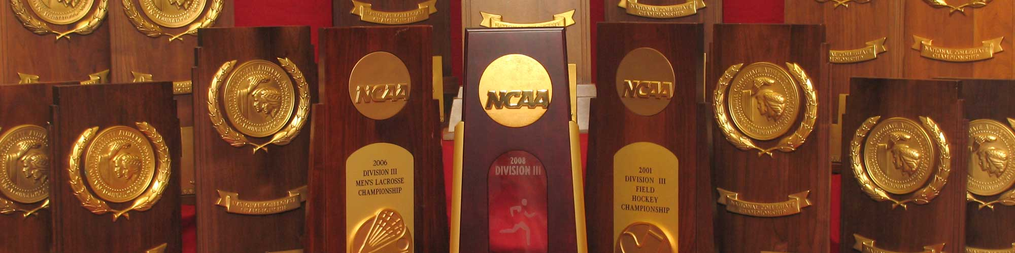 National Championship trophies on display