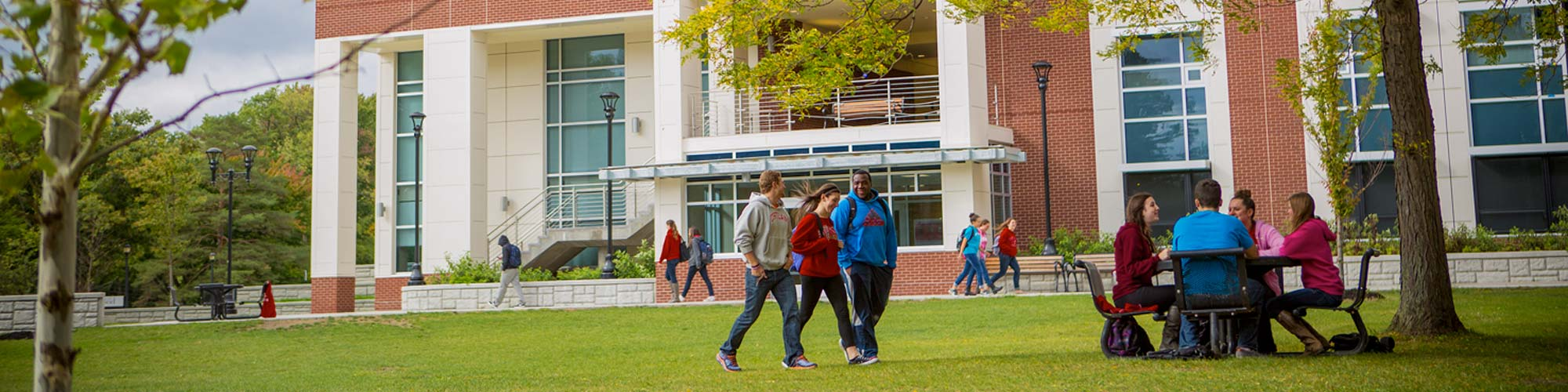 Students on the lawn of Dragon Hall