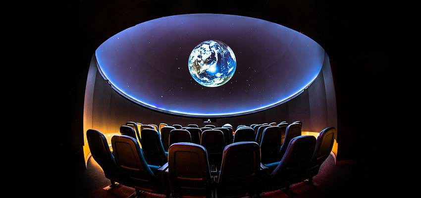Fish-eye view of the planetarium dome and seating