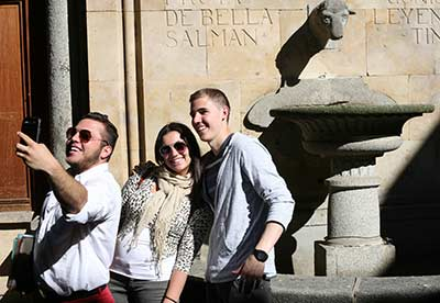 Cortland students taking a selfie abroad