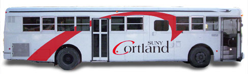 SUNY Cortland Bus using the bridge element