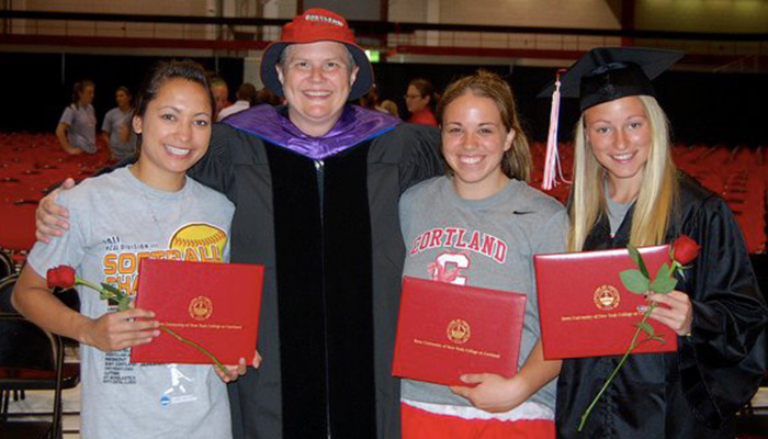 Susan Wilson with graduating seniors