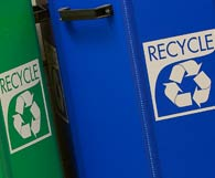 Green and blue recyling bins