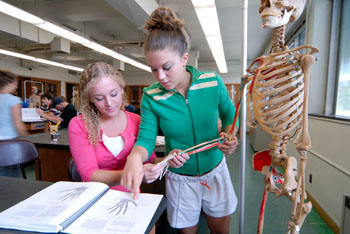 Photo of students in A & P Lab