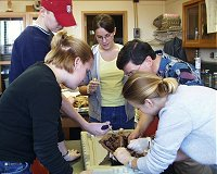 Dr. Straneva with students in the Mammalian Anatomy Lab