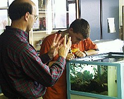 Dr. Rivest with a student at the marine aquarium