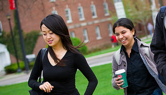 Two international students on campus