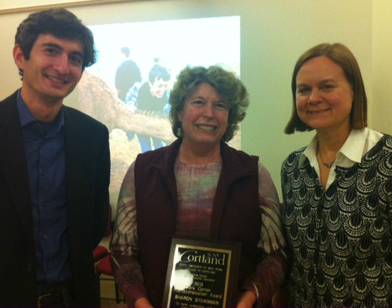 Alexandru Balas, Director of the Clark Center for International Education, Sharon Steadman, the recipient of the Clark Center Internationalization Award, and Mary Schlarb, Director of the International Programs Office