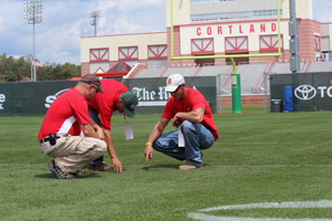 Checking out the turf