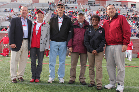 C-Club Hall of Fame 2012 honorees on playing field