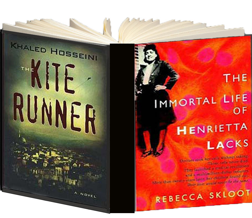 Books covers for The Kite Runner and The Immortal Life of Henrietta Lacks