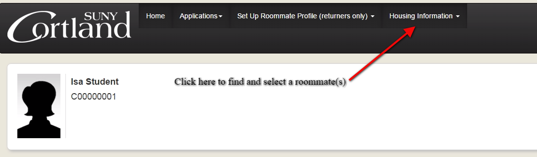 Screenshot of student profile highlighting housing information