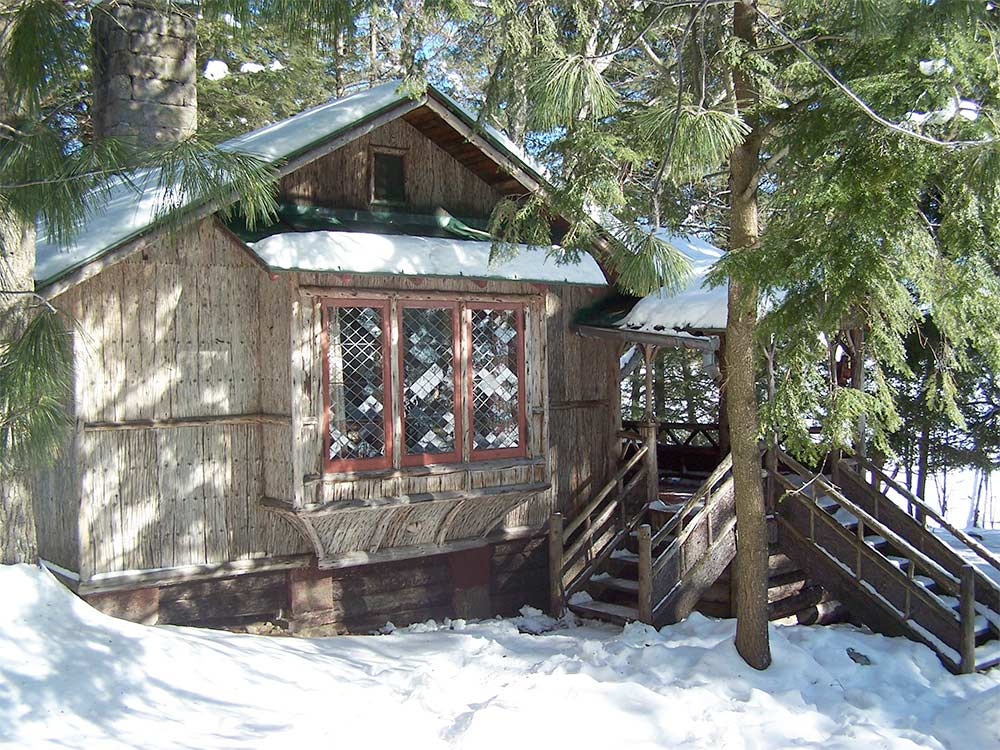 Durant Cabin coverd in snow