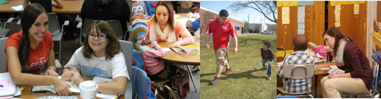collage of SUNY Cortland students volunteering with local children
