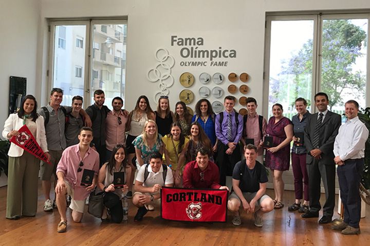 SUNY Cortland sport management majors and faculty members at the Olympic Committee of Portugal headquarters in Lisbon