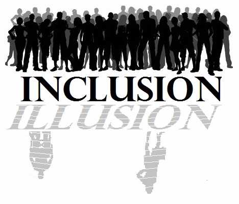Inclusion: A silhouette of a group of students standing together..