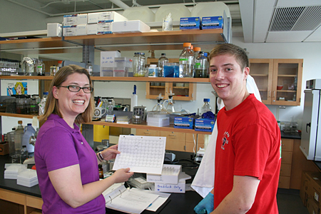 Dr. Chatfield with Casey Peterson in her lab.