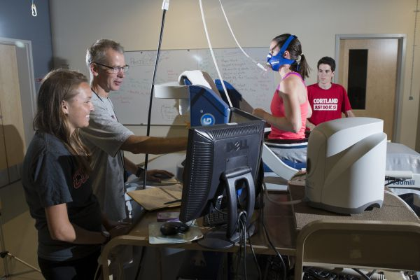 Allison Schumann works with the Alter G treadmill in the College's exercise science lab