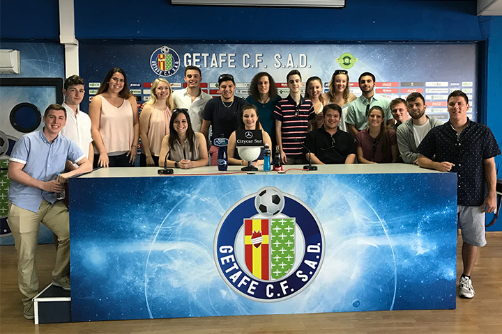SUNY Cortland sport management students and professors at Getafe FC in Spain.