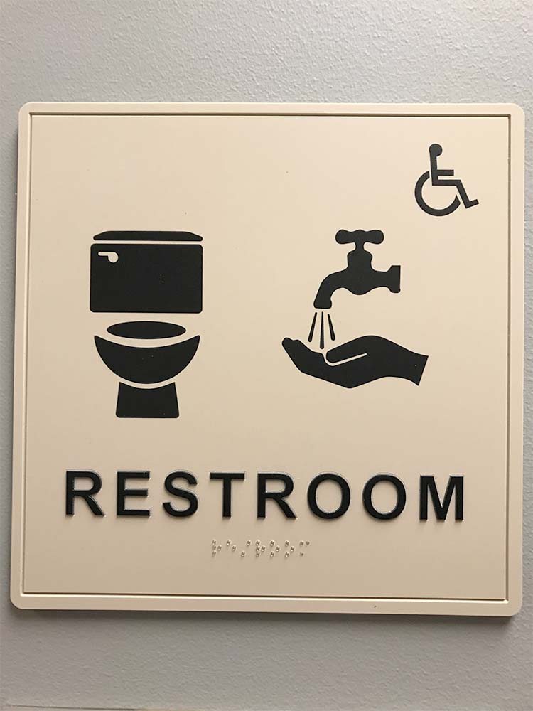 Bathroom sign for toilet and sink