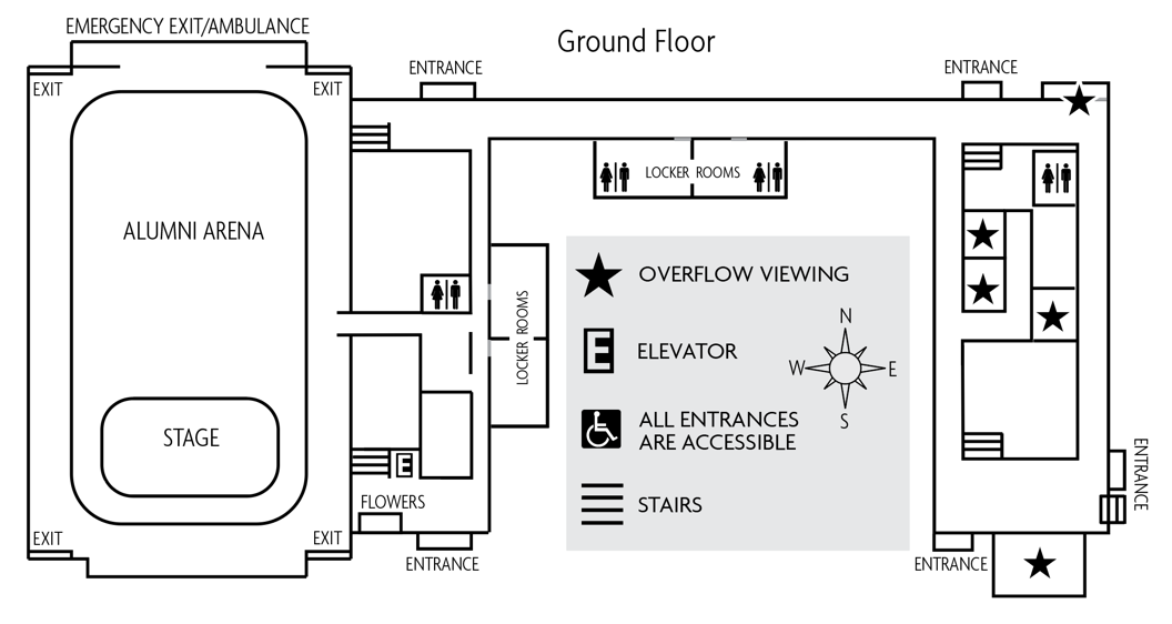 Map of Park Center overflow seating locations