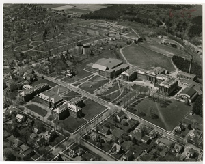 An aerial view of campus from 1958.