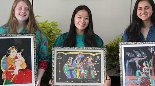 SUNY Cortland students display paintings created in India